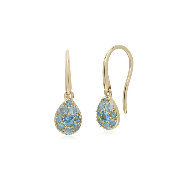 Classic Blue Topaz Pear Cluster Fish Hook Earrings Image 1
