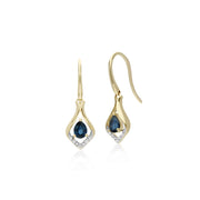 Classic Sapphire & Diamond Leaf Drop Earrings & Pendant Set Image 2