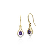 Classic Amethyst & Diamond Drop Earrings Image 1