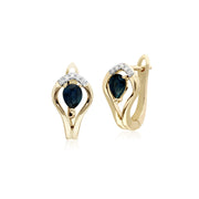 Classic Sapphire & Diamond Leaf Lever back Earrings & Pendant Set Image 2