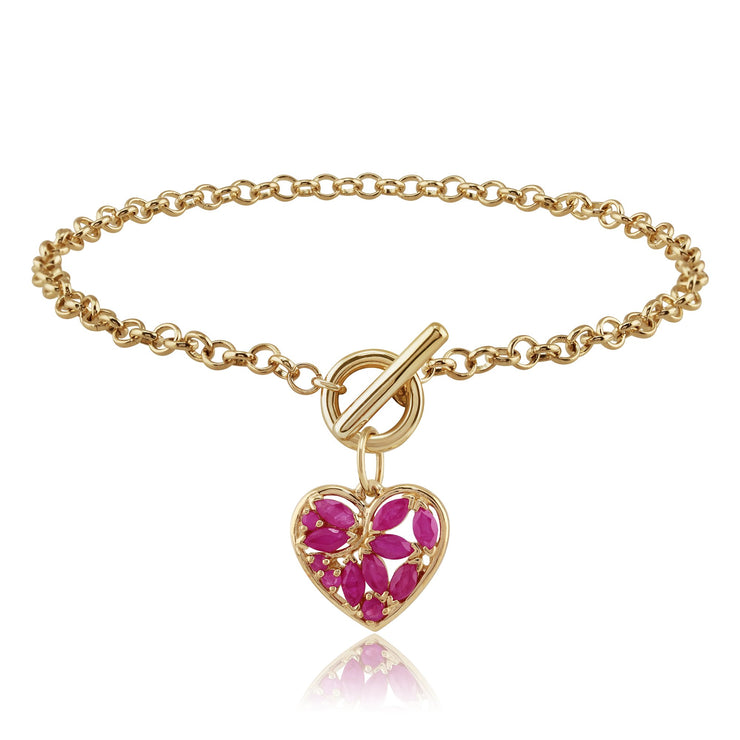 Classic Marquise Ruby Heart Charm Bracelet in 9ct Yellow Gold