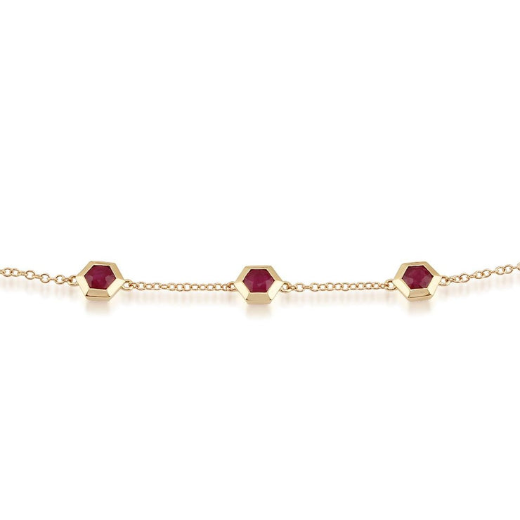 Geometric Ruby Hexagon Three Stone Bracelet Image 1