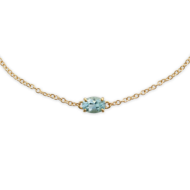 Classic Oval Aquamarine Single Stone Bracelet Image 1