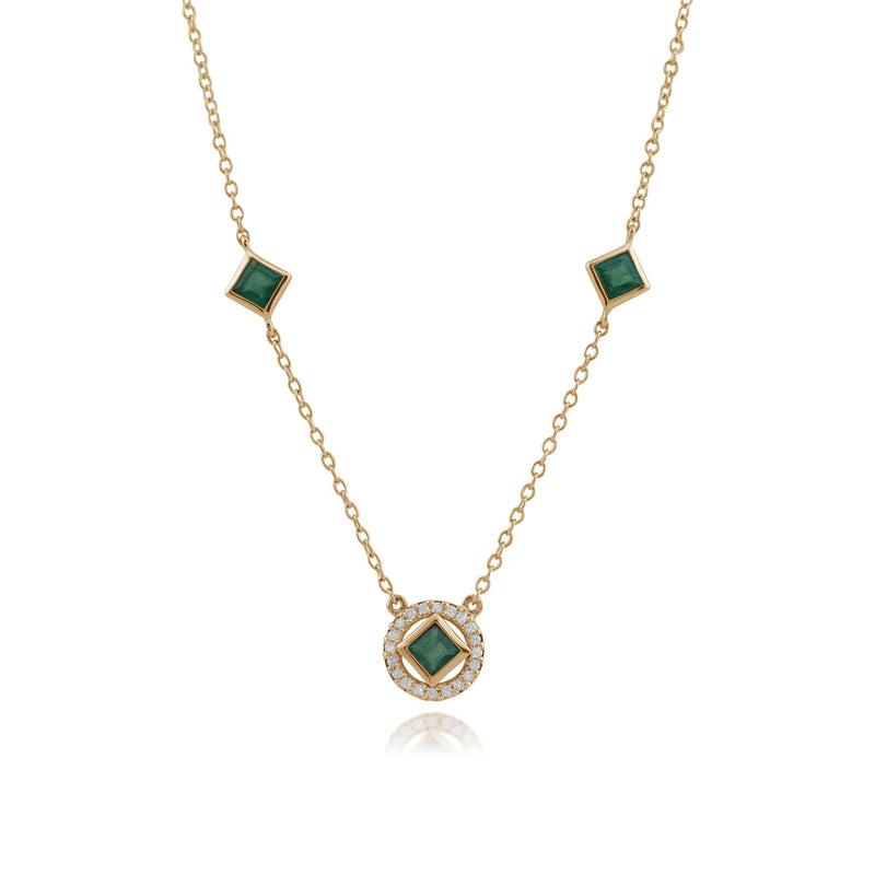 Classic Square Emerald & Diamond Halo Necklace Image 1