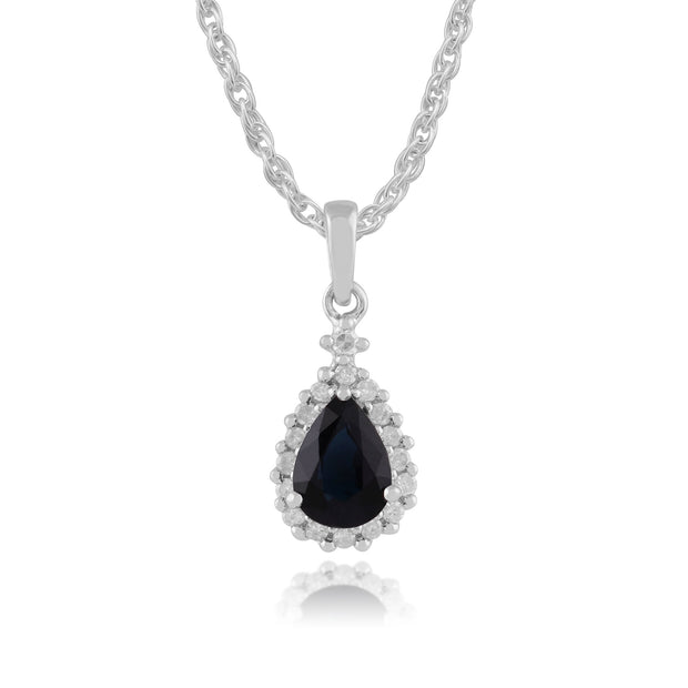 Classic Sapphire & Diamond Cluster Pendant on Chain Image 1
