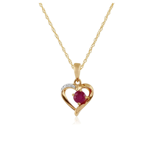 Classic Ruby & Diamond Heart Pendant on Chain Image 1