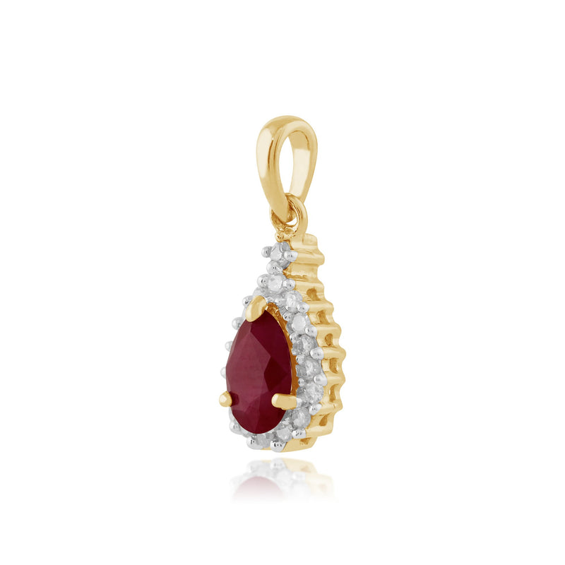 Classic Ruby & Diamond Cluster Pendant on Chain Image 2