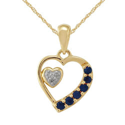 9ct Yellow Gold 0.22ct Blue Sapphire & 1.2pt Diamond Heart Pendant on Chain Image