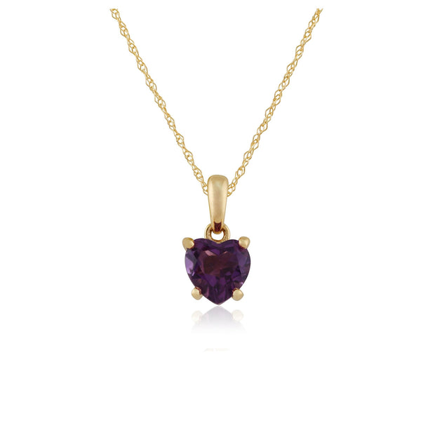 Classic Amethyst Heart Pendant on Chain Image 1