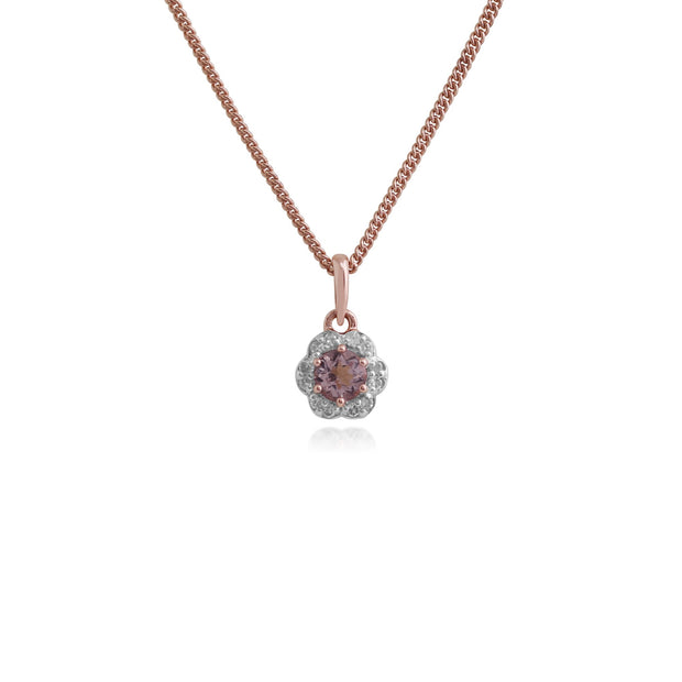 Floral Morganite & Diamond Halo Pendant Image 1