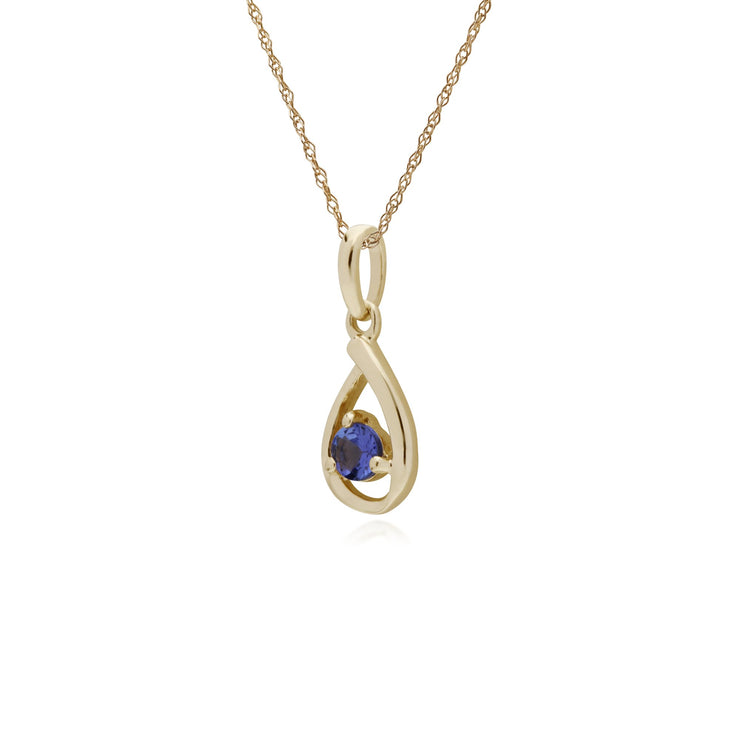 Single Tanzanite Tear Drop Pendant Image 2