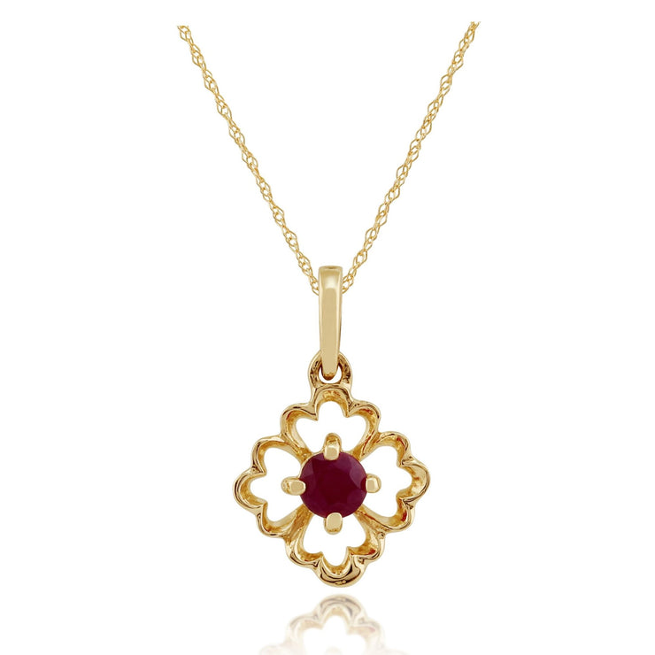 Floral Ruby Pendant on Chain Image 1