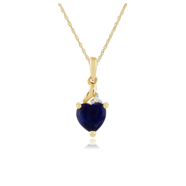 Classic Lapis Lazuli & Diamond Heart Pendant on Chain Image 1