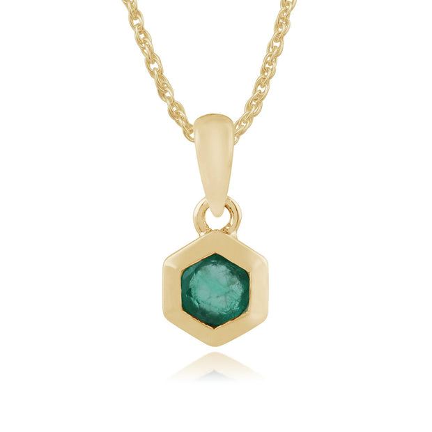 Geometric Hexagon Emerald Bezel Set Pendant in 9ct Yellow Gold