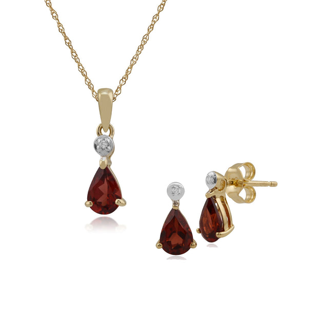 Classic Garnet & Diamond Stud Earrings & Pendant Set Image 1
