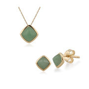 Classic Cushion Green Jade Bezel Stud Earrings & Pendant Set Image 1