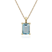 Classic Blue Topaz Baguette Stud Earrings & Necklace Set Image 3