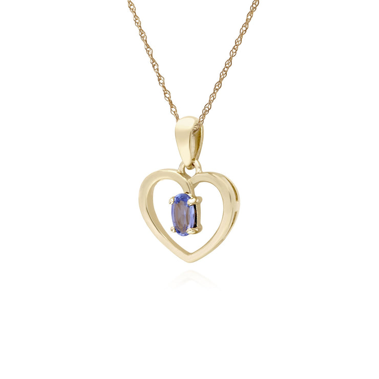 Classic Tanzanite Heart Pendant Necklace Image 2