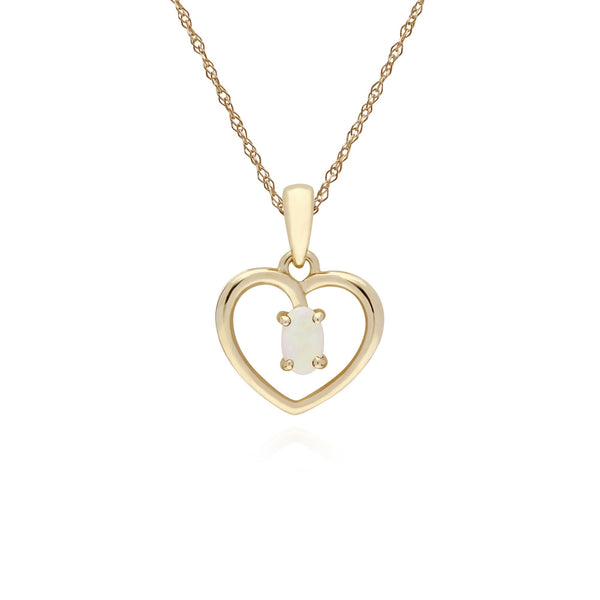 Classic Opal Heart Pendant Necklace Image 1