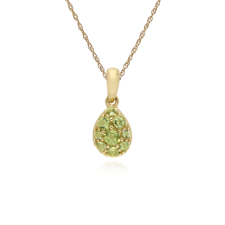 Classic Pear Peridot Cluster Pendant Necklace Image 1