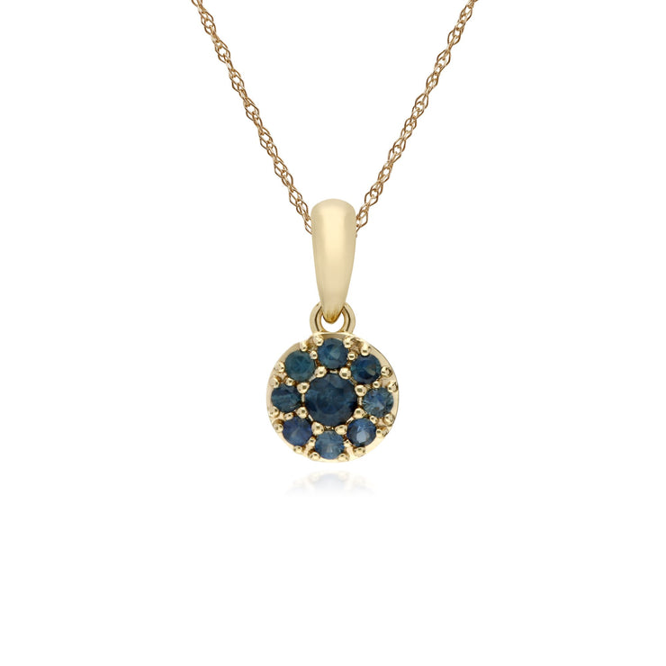 Classic Sapphire Cluster Pendant Necklace Image 1