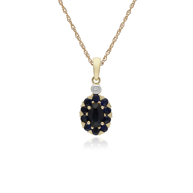 Classic Oval Sapphire Cluster Pendant Necklace Image 1
