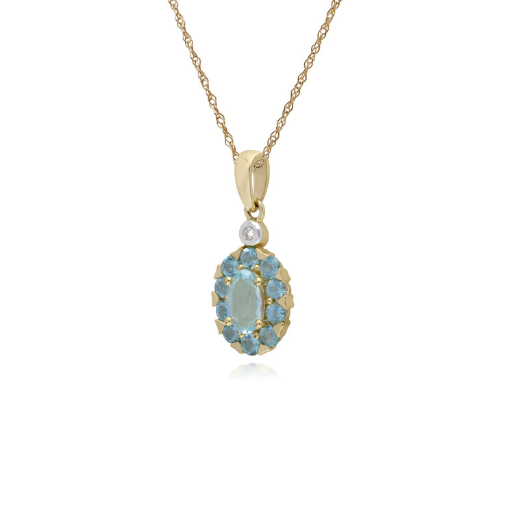 Classic Oval Blue Topaz Pendant Image 2