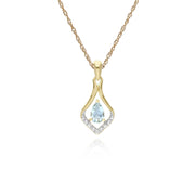 Classic Aquamarine & Diamond Leaf Drop Earrings & Pendant Set Image 3