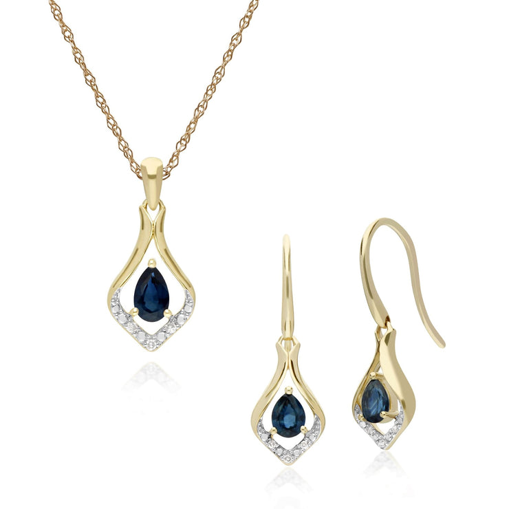 Classic Sapphire & Diamond Leaf Drop Earrings & Pendant Set Image 1