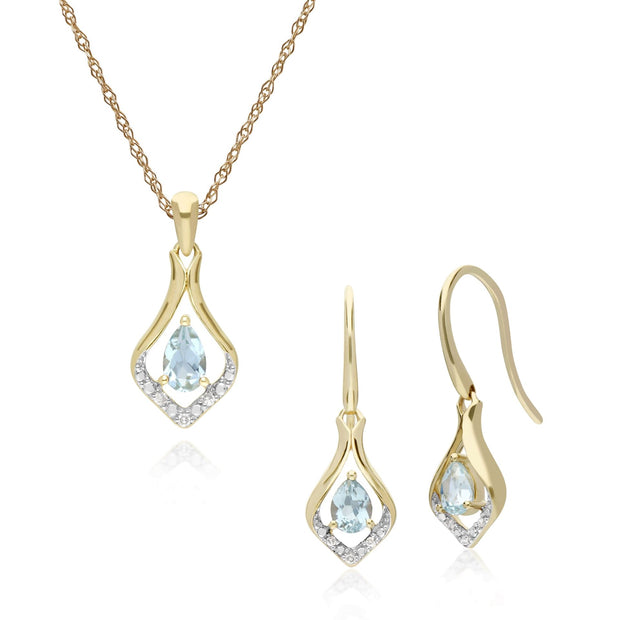 Classic Aquamarine & Diamond Leaf Drop Earrings & Pendant Set Image 1