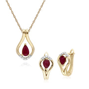Classic Ruby & Diamond Leaf Lever back Earrings & Pendant Set Image 1
