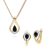 Classic Sapphire & Diamond Leaf Lever back Earrings & Pendant Set Image 1
