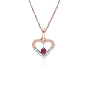 Classic Ruby & Diamond Heart Drop Earrings & Pendant Set Image 3