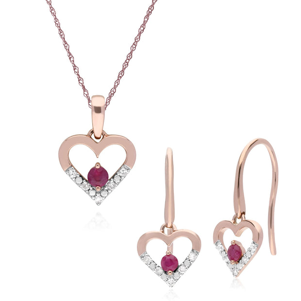 Classic Ruby & Diamond Heart Drop Earrings & Pendant Set Image 1