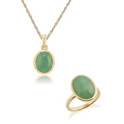 Classic Green Jade Bezel Pendant & Cocktail Ring Set Image 1