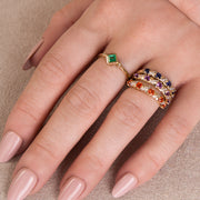 Geometric Emerald and Diamond Ring Image 3