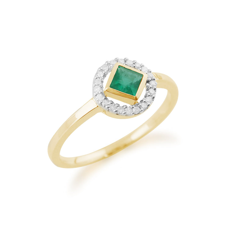 Gemondo 9ct Yellow Gold 0.27ct Emerald & Diamond Ring Image 2