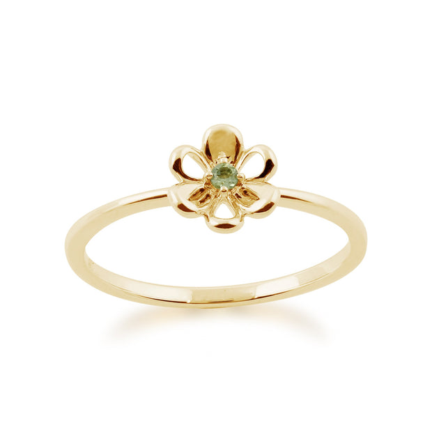 Floral Peridot & Diamond Butterfly & Flowers Three Stack Ring Set Image 5