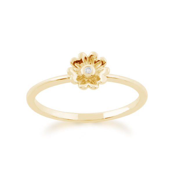 Gemondo 9ct Yellow Gold 0.01ct Diamond Stackable Floral Ring Image 1