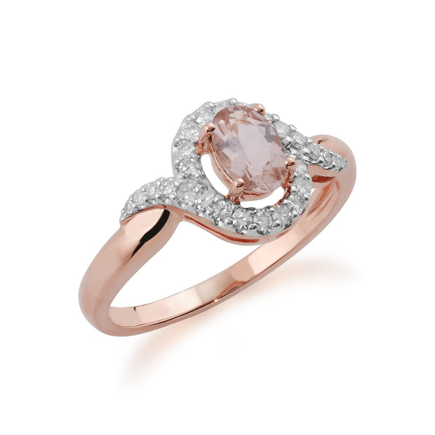 Morganite and Diamond Twist Halo Ring Image 2