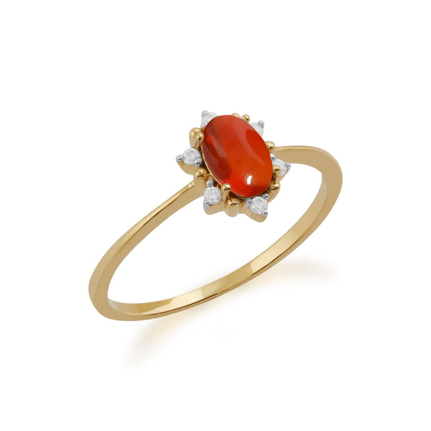 Gemondo 9ct Yellow Gold 0.33ct Fire Opal & Diamond Cluster Ring Image 2
