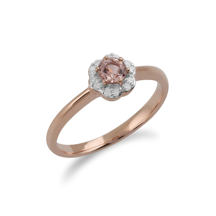 Morganite and Diamond Flower Ring Image 3