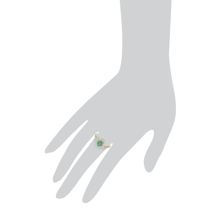 Emerald and Diamond Twist Ring Image 3