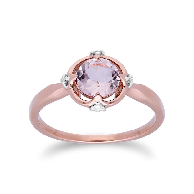 10ct Rose Gold Morganite & Diamond Round Cut Ring