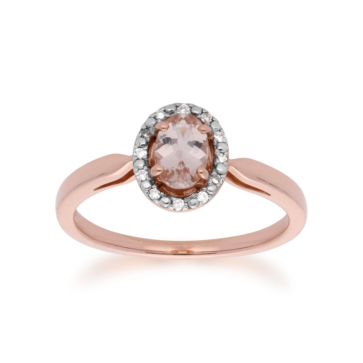 Morganite and Diamond Halo Ring Image 1