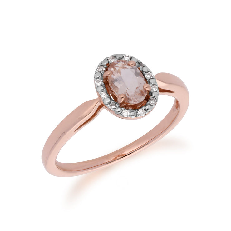 Morganite and Diamond Halo Ring Image 2