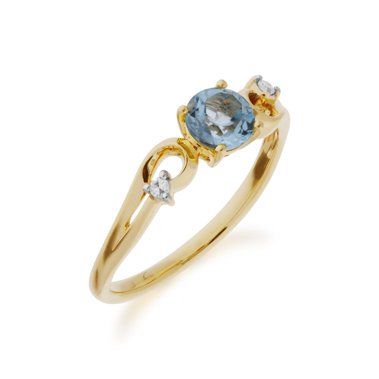 Blue Topaz and Diamond Dress Ring Image 2