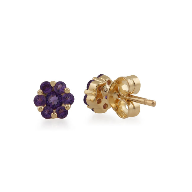 Floral Amethyst Cluster Stud Earrings Image 2