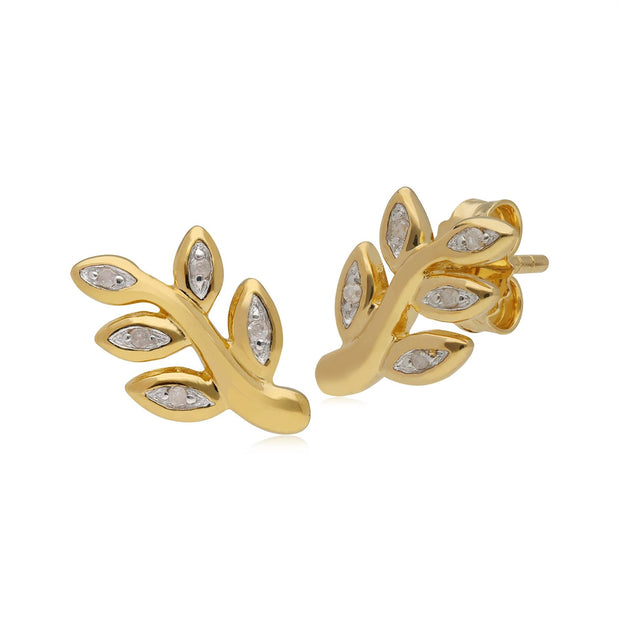 Kosmos Diamond Leaf Shaped Stud Earrings in Yellow Gold Plated Sterling Silver