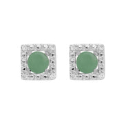 Classic Jade Stud Earrings & Diamond Square Ear Jacket Image 1